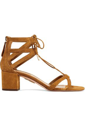 Aquazzura Woman Beverly Hills Suede Sandals Camel In Brown