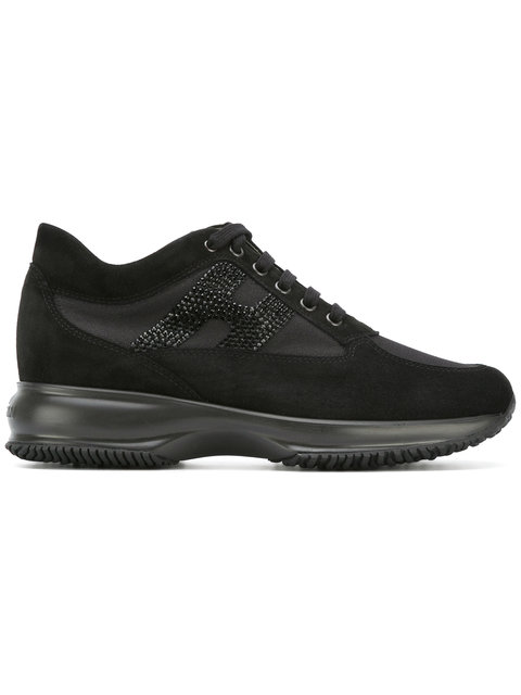 Hogan Interactive Crystal Logo Sneakers In Black