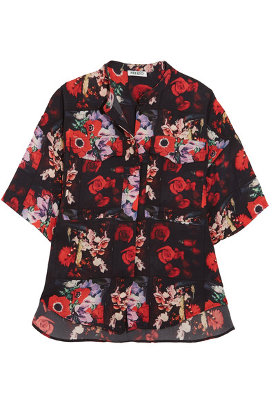 52fb77e1 Kenzo Floral-Print Silk-Georgette Shirt In Multicolored | ModeSens