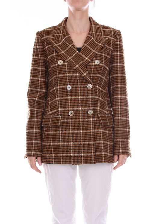 Tela Jackets Double-breasted Women Black And White Camel In Brown