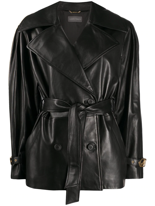 Alberta Ferretti Tie Waist Double-breasted Leather Jacket In Black