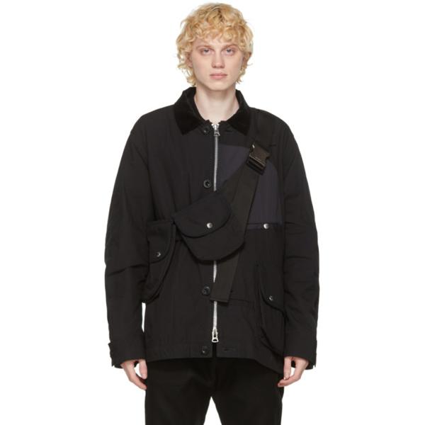 Sacai Black Oxford Blouson Jacket In Black 001