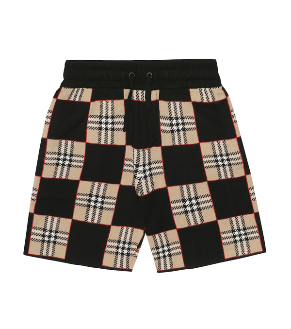 Burberry Kids' Rickman Chequer Jacquard Merino Wool Sweater Shorts In Archive Beige
