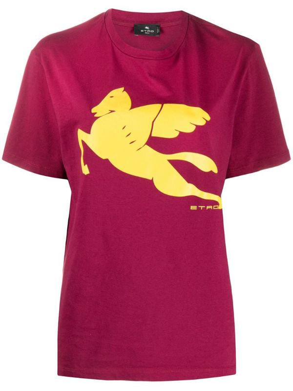 Etro Logo-print Crew Neck T-shirt In Red