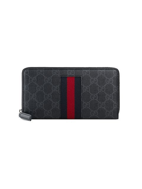 7cf158a6a9f0e9 Gucci Gg Supreme Web Zip Around Wallet In Black | ModeSens