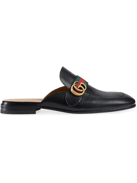 2846d38cd Gucci Princetown Leather Slipper With Double G, Black | ModeSens
