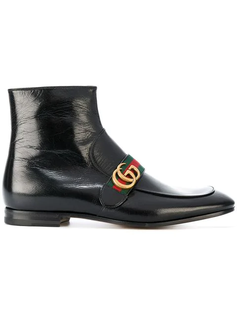7624e3aa257 Gucci Donnie Webbing-Trimmed Leather Chelsea Boots In Black