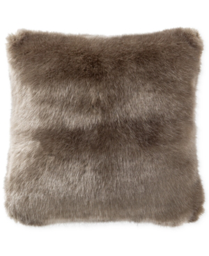 """Waterford Carrick 16"""" Square Faux-fur Decorative Pillow Bedding In Silver/antique Gold"""