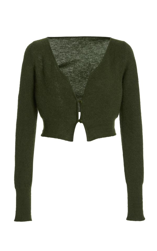 Jacquemus Women's Alzou Cropped Mohair-blend Cardigan In Khaki