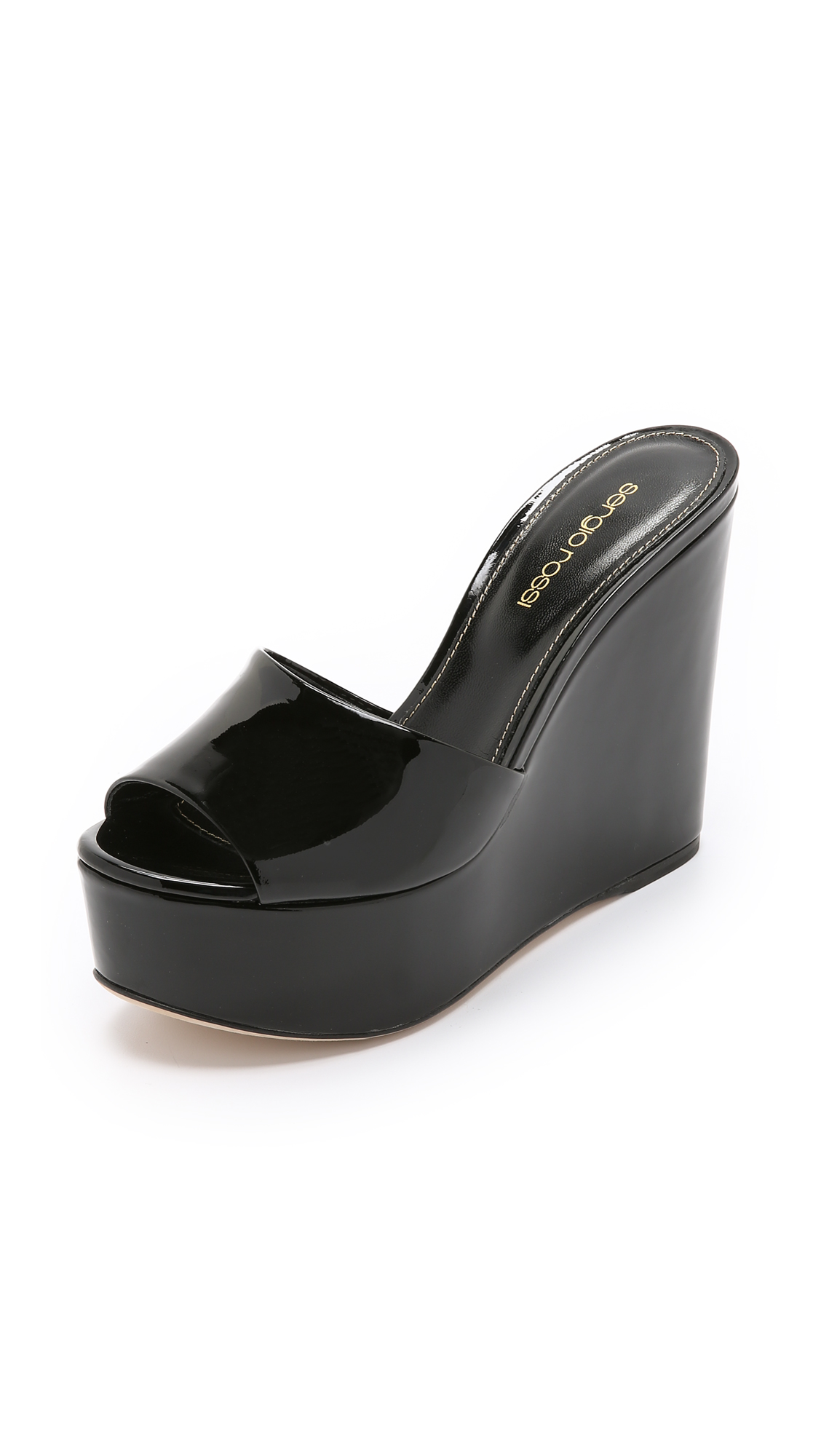 Sergio Rossi 120Mm Lakeesha Patent Leather Wedges, Black