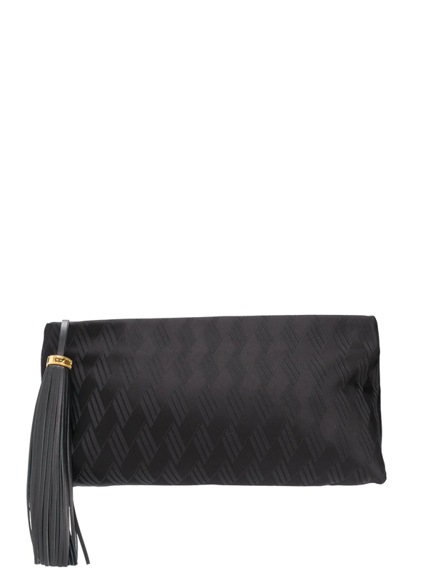 Attico Tassel Detail Clutch Bag In Black