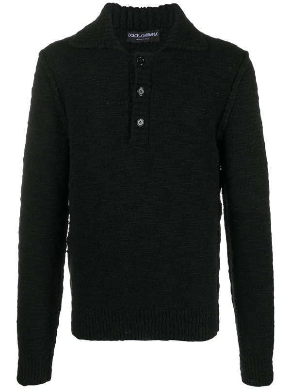 Dolce & Gabbana Cable-knit Wool Polo-style Sweater In Black