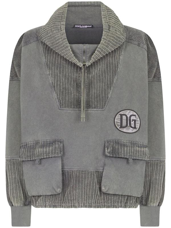 Dolce & Gabbana Corduroy Logo Patch Hoodie In Grey