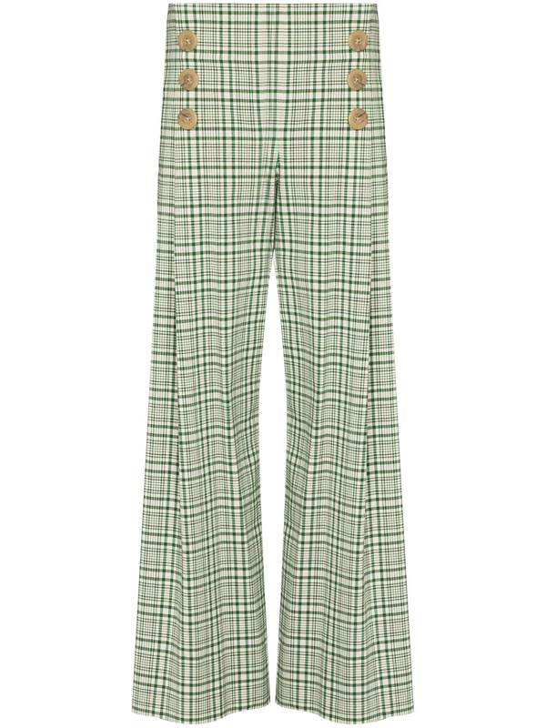 Rosie Assoulin Check-pattern Wide-leg Trousers In Green