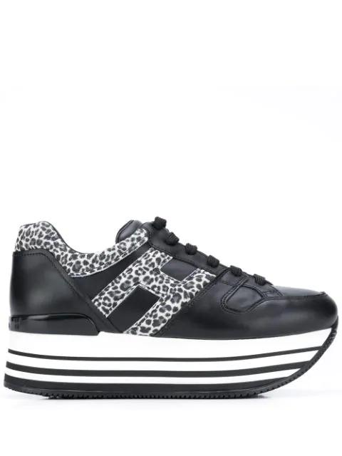 Hogan Maxi Platform H283 Sneakers In Black