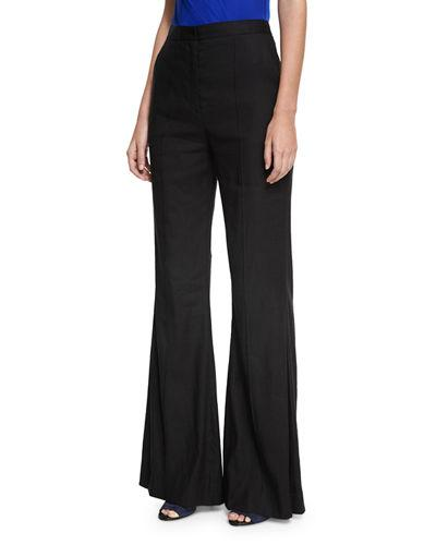 ad1738574 Diane Von Furstenberg High-Rise Pleated-Front Flared Pants, Multi In Black