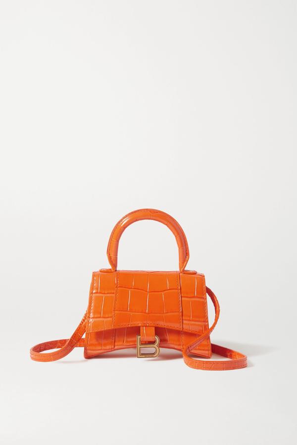 Balenciaga Hourglass Nano Croc-effect Leather Tote In Orange