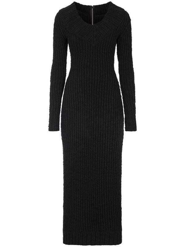 Dolce & Gabbana Off-the-shoulder Knit Dress In Black