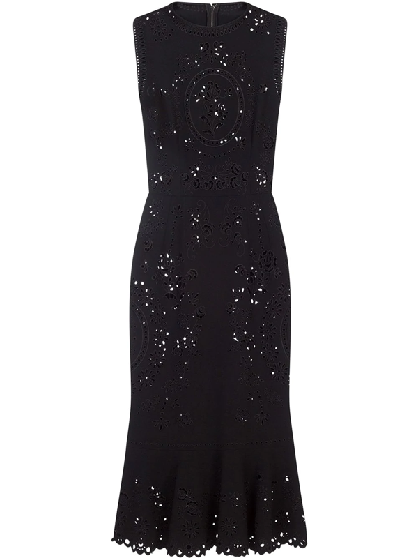 Dolce & Gabbana Sleeveless Cady Calf-length Dress With Intaglio Detailing In Black