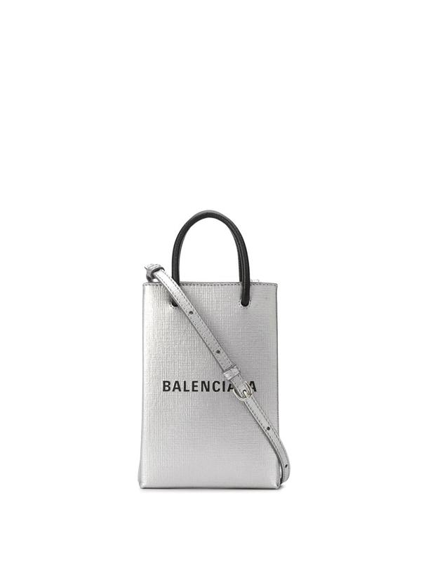 Balenciaga Shopping Phone Holder In Silver Color