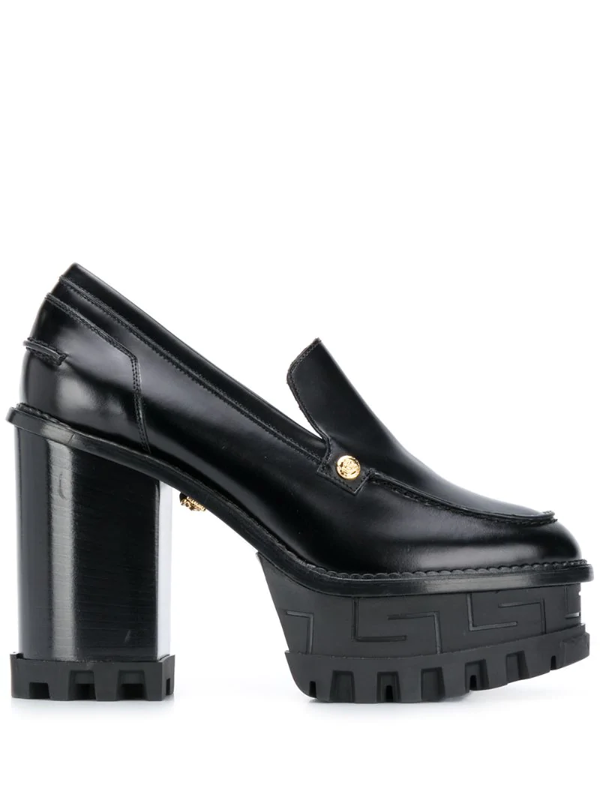 Versace Chunky 125mm Block-heel Pumps In Black