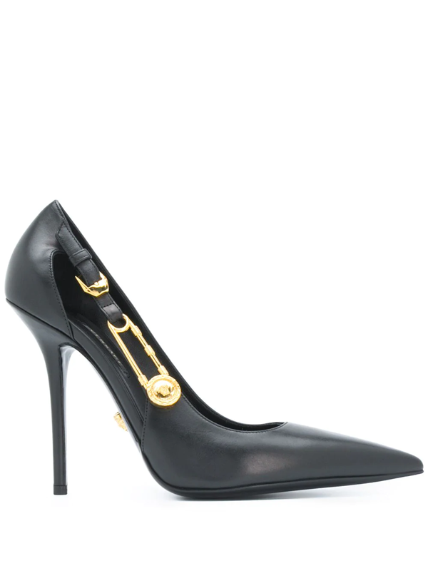 Versace Safety Pin Leather Pumps In Black