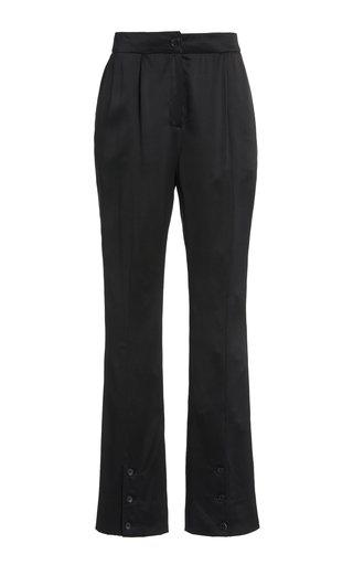 La Collection Namika Silk Satin Split-leg Trousers In Black