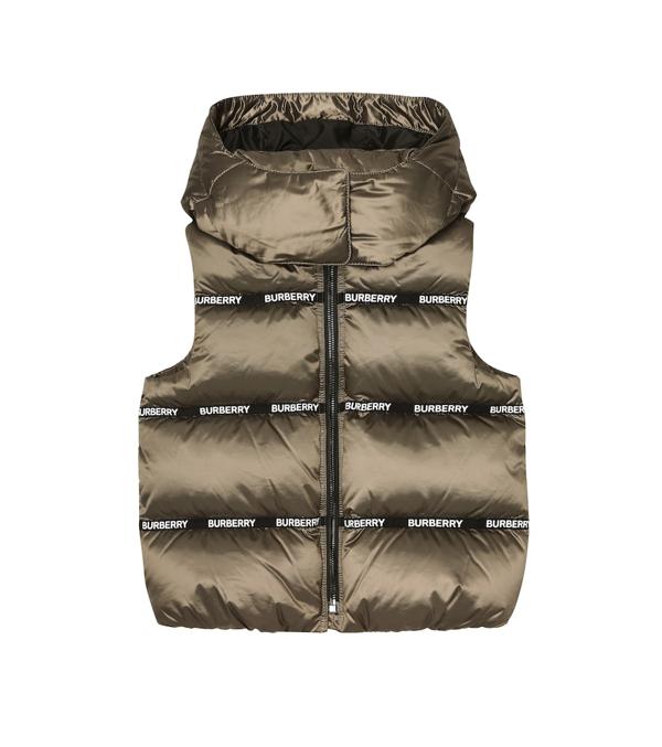 Burberry Kids' Hooded Down Vest In Grey