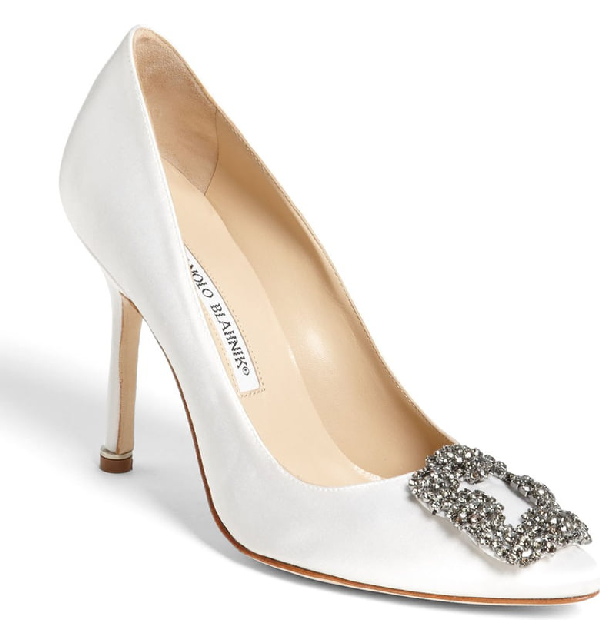 Manolo Blahnik Hangisi Satin Crystal-Toe Pump In White Satin/ Pewter Crystal