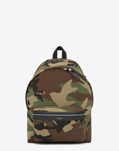 Saint Laurent Classic Hunting Backpack In Khaki Cotton Gabardine Camouflage And Black Leather In Cammeo