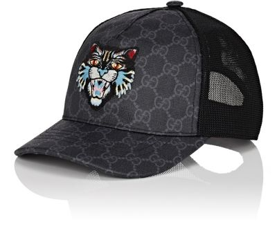 e92cf86d11282 Gucci Angry Cat AppliquÉD Coated-Canvas And Mesh Baseball Cap In 1060  Black Black