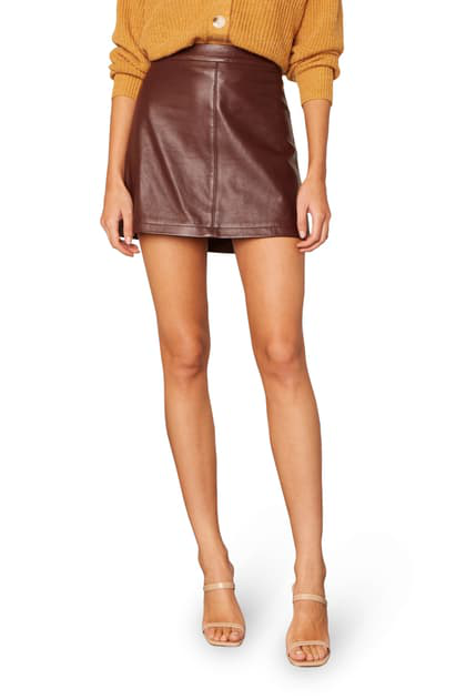 Cupcakes And Cashmere Marrie Leather Miniskirt In Bitter Chocolate