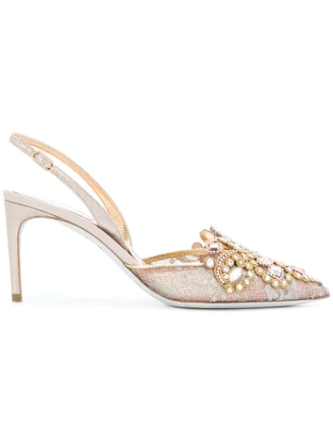 RenÉ Caovilla Lace Embroidered Slingback Pumps In Pink Grey