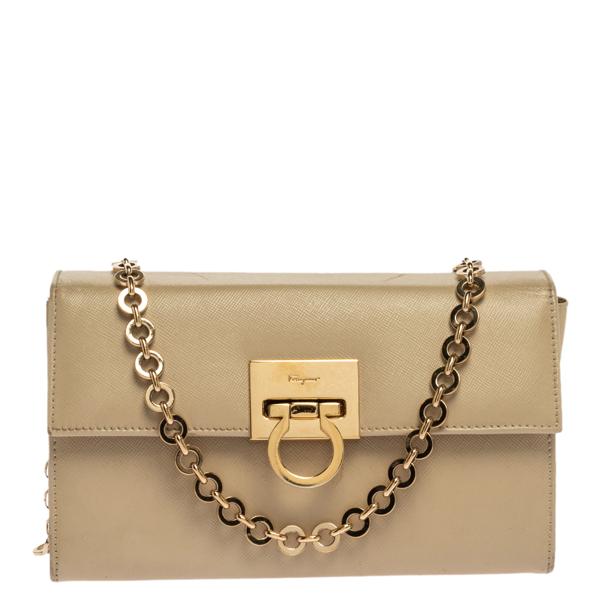 Pre-owned Salvatore Ferragamo Beige Leather Gancini Chain Bag
