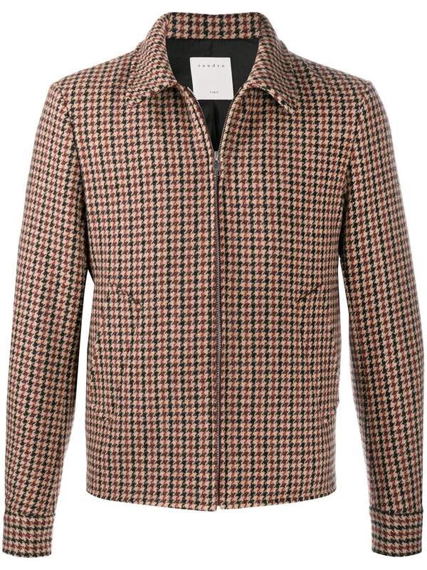 Sandro Camille Houndstooth Wool Jacket In Neutrals