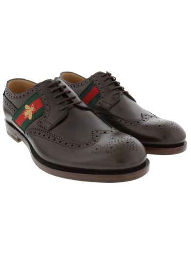 Gucci Leather Lace-up With Bee Web In Black Leather