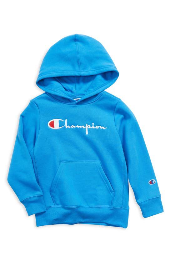 Champion Kids' Embroidered Premium Fleece Hoodie (little Boy) In Blue Jay