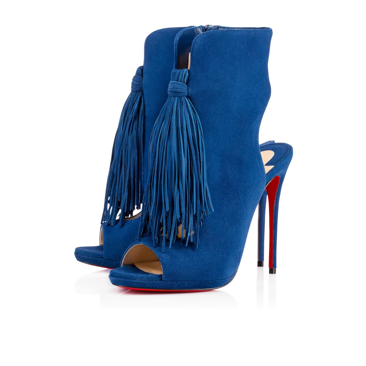 Christian Louboutin Blue Suede 'otoka 120' Side-zip Ankle Booties' In Espadon