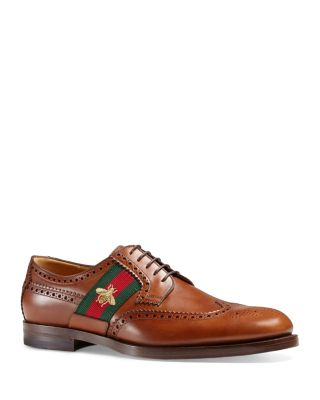 Gucci Strand Leather Brogue Lace-up Shoe W/web Detail, Brown