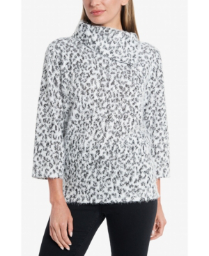 Vince Camuto Women's Fuzzy Animal Fold Over Neck Pullover In Pearl Ivory