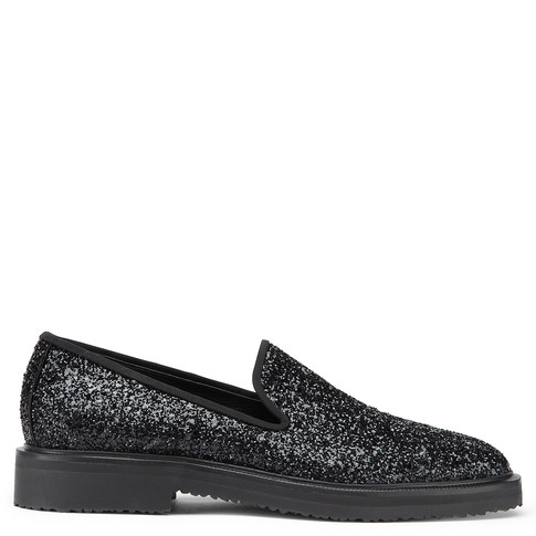 Giuseppe Zanotti - Fabric Loafer With Black Glitter Finishing Giuseppe Glitter