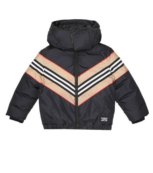 Burberry Kids' Icon Stripe Panel Hooded Down Jacket In Black