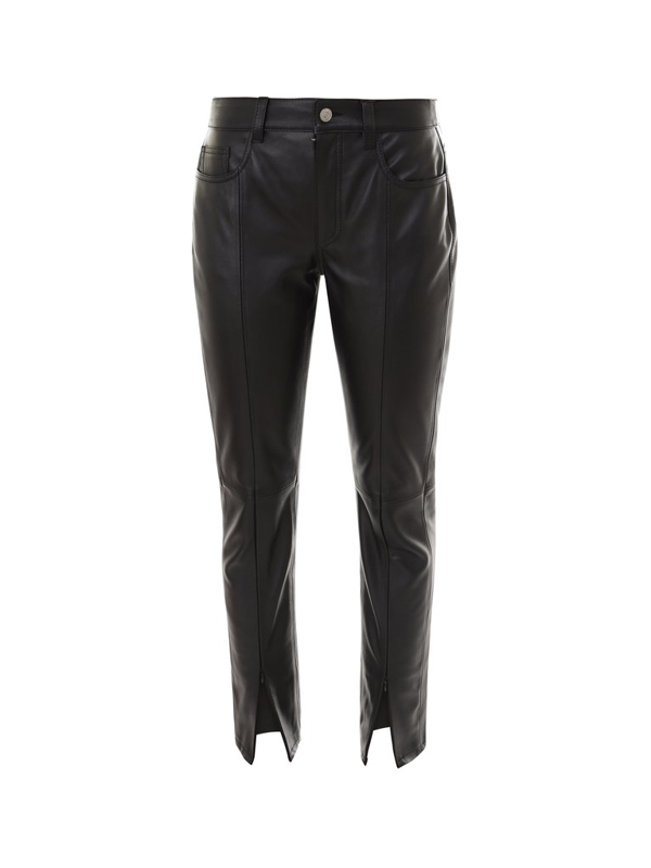 Mm6 Maison Margiela Front Slit Leather Trousers In Black