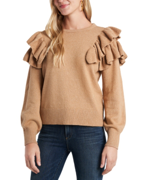 1.state Ruffle Sleeve Sweater In Wild Oak