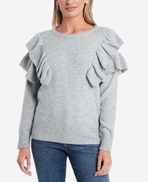 1.state Ruffle Sleeve Sweater In Silver Heather