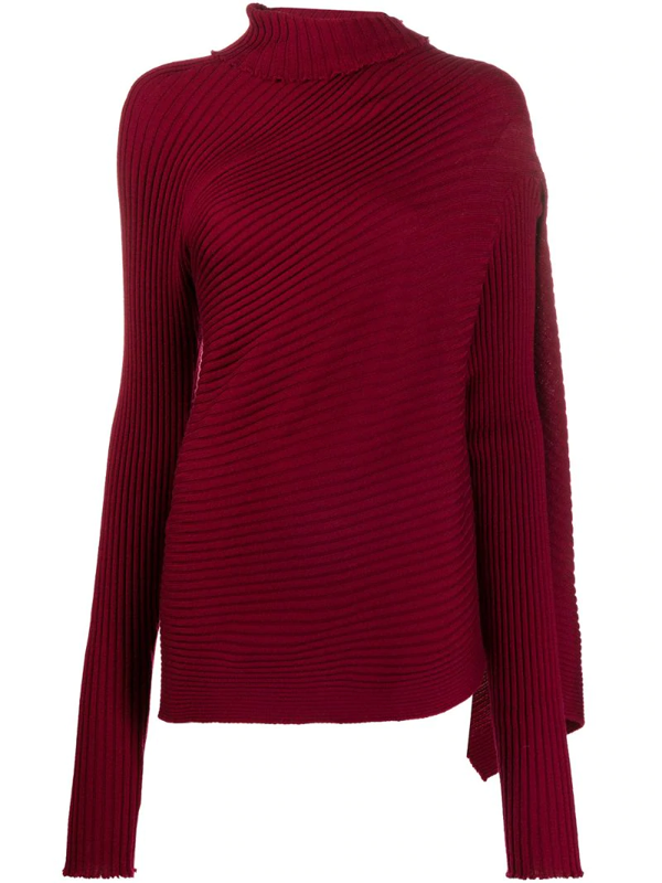 Marques' Almeida Asymmetric Draped Ribbed Wool Sweater In Red
