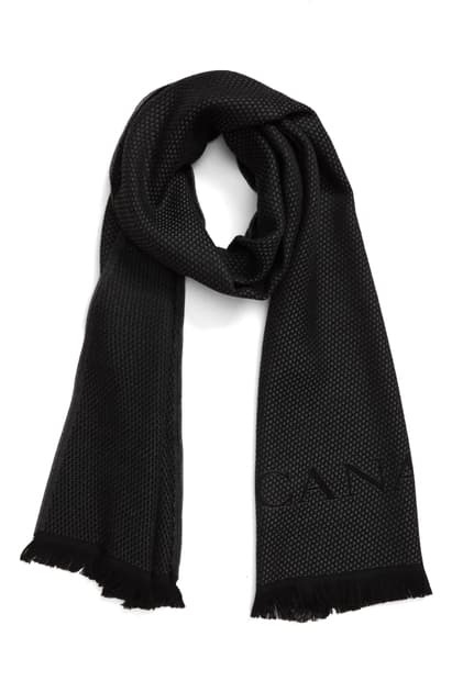Canali Scarf Blue Wool Man In Charcoal