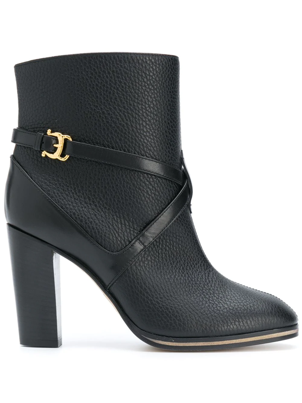 Pollini Side Buckle Ankle Boots In Black