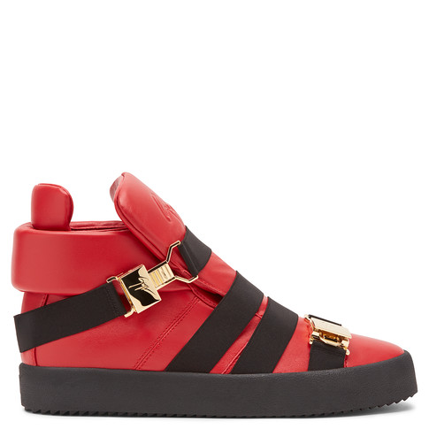 Giuseppe Zanotti - Red Leather High-top Sneaker With Bands Sean