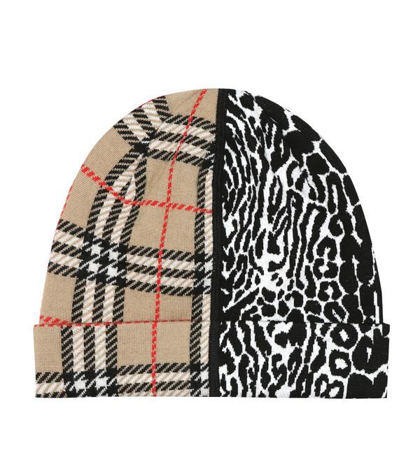 Burberry Kids' Jacquard Tartan With Leopard Print Insert Hat In Beige